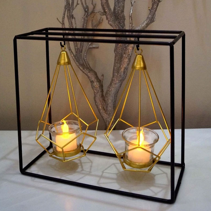Black & Gold Metal & Glass Candle Holder
