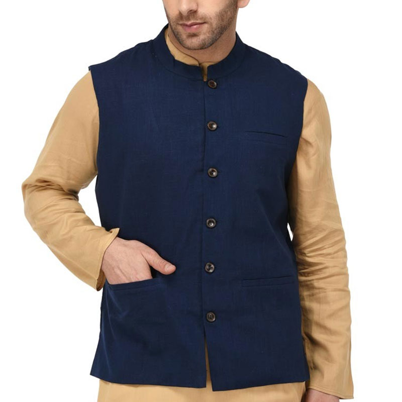 Blue Cotton Nehru Jacket