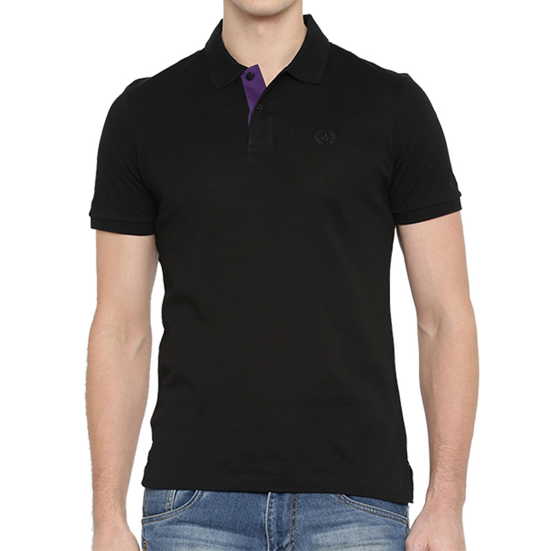 Arrow Black Solid Collar T-shirt