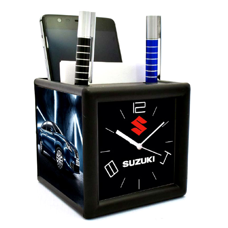Table Clock with Pad Mobile and Pen Holder