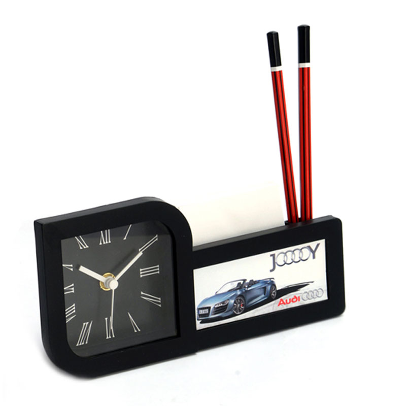 Table Clock with Pad and Pen Holder