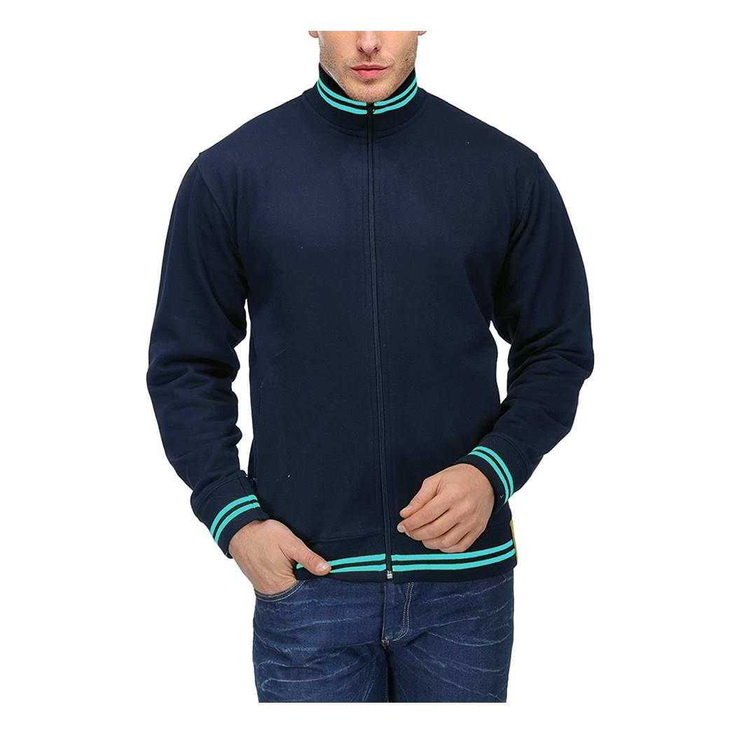 Navy Blue Mens Rich Cotton High Neck Hoodie Sweatshirt