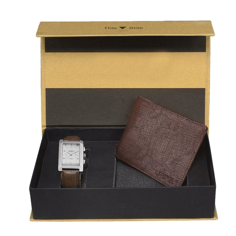 White Mens Wallet and Watch Combo