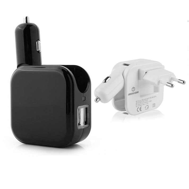 2 in 1 Car and Home Charger with 2 USB Ports