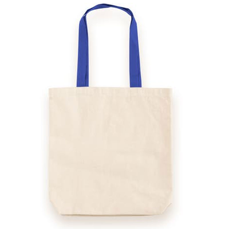 Contrast Handles Cotton Canvas Tote Bag