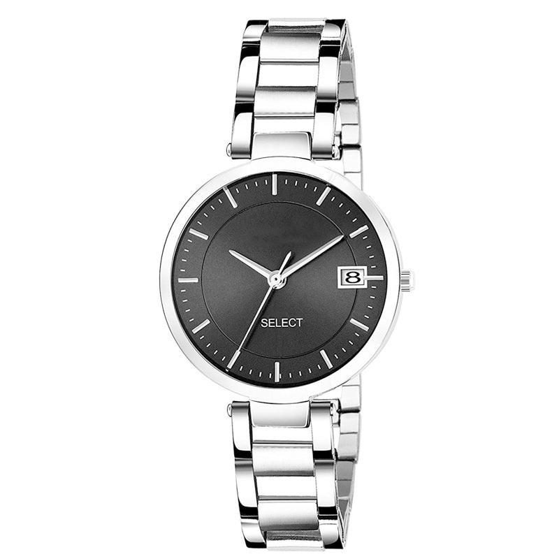 Black Metallic Day & Date Women Watch