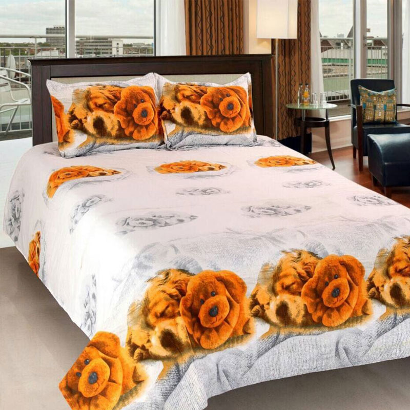 3D Cotton Bedsheet With 2 Pillow Cover