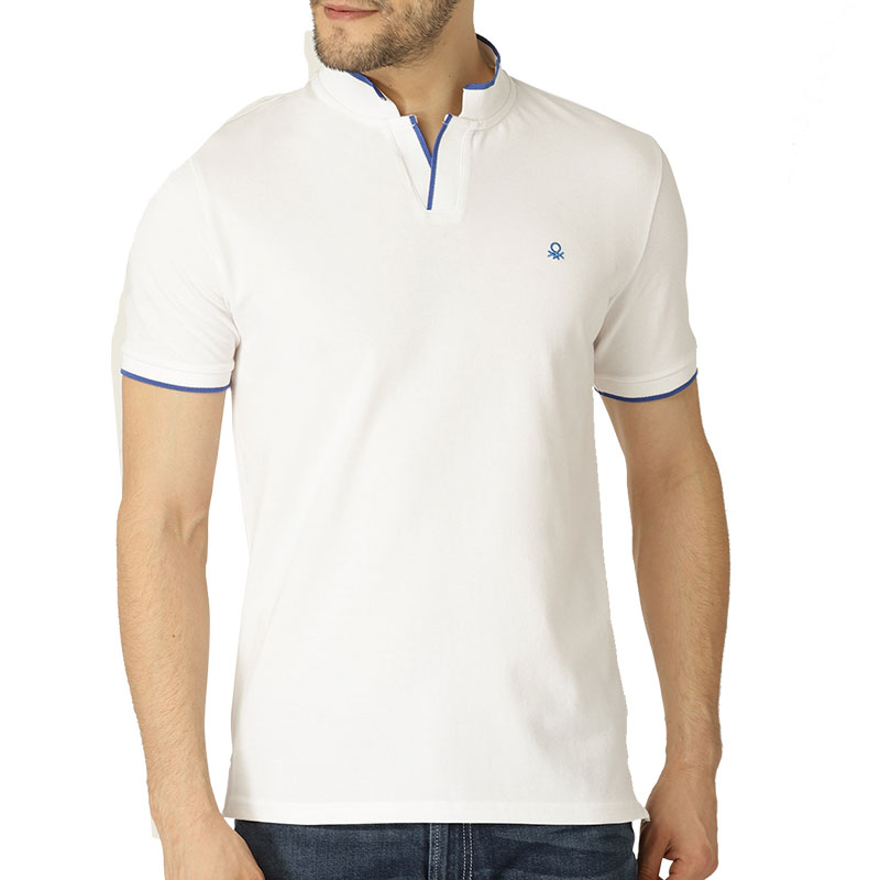 UCB White Solid Mandarin Collar T-shirt