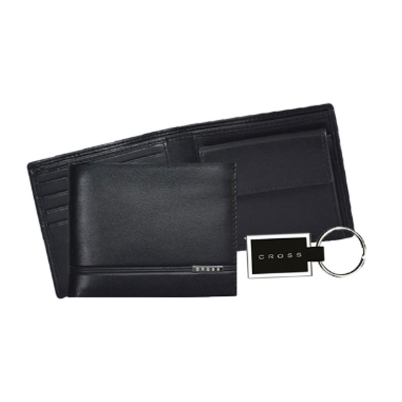 CROSS Slim Wallet & Metal Key Chain
