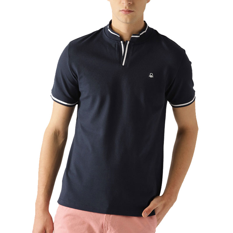 UCB  Navy Blue Solid Stand Collar T-shirt