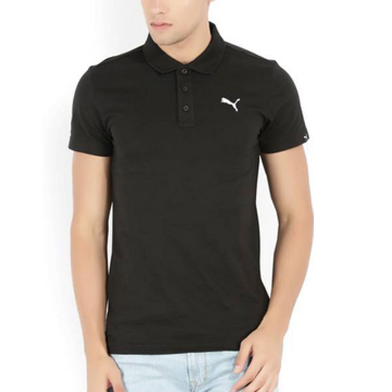 Puma Solid Mens Polo Neck Black T-Shirt