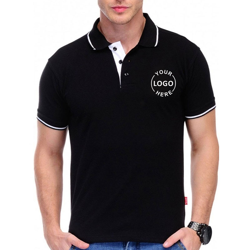 Scott Black With White Tipping Polo T-shirt