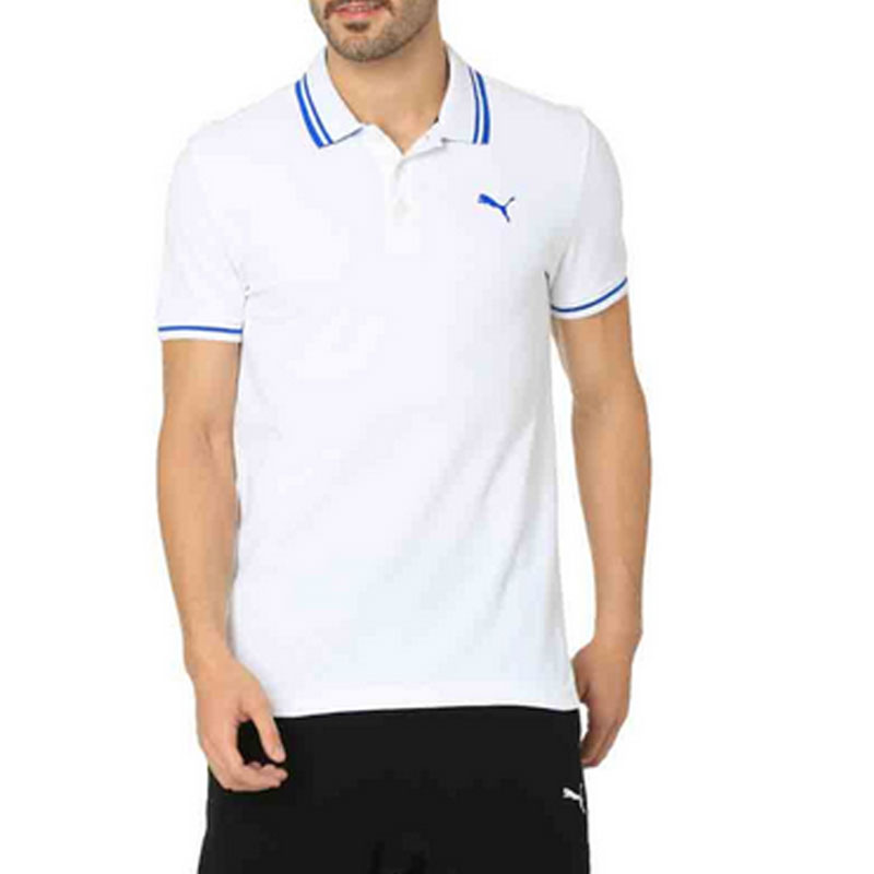 Puma Solid Mens Polo Neck White T-Shirt