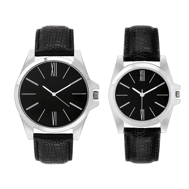 Opus Analogue Black Dial Couple's Watch