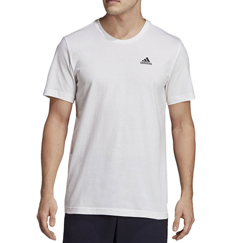 Adidas Solid Men Round Neck White T-Shirt