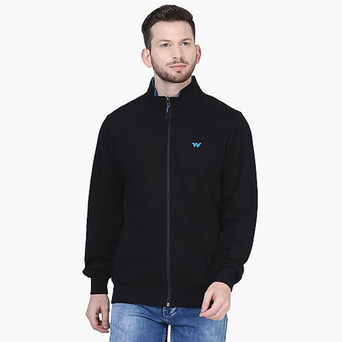 Black Men Zippered Sweatshirt