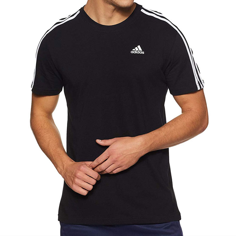 Adidas Black Round Neck T-Shirt with White Pipng