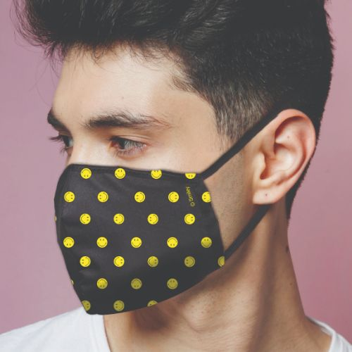 Original Smiley Brand Reusable Anti Viral Face Mask - with 2 Certified Filters- Black AOP