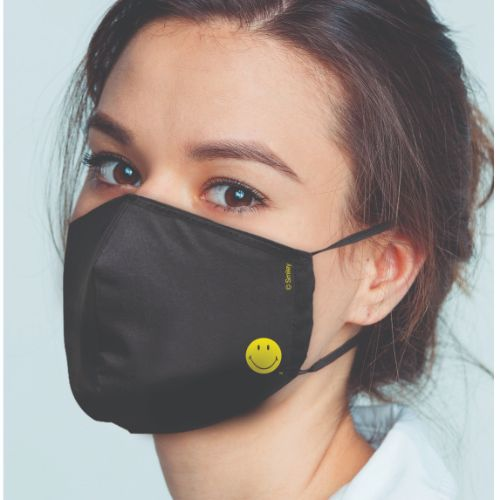 Original Smiley Brand Reusable Anti Viral Face Mask - with 2 Certified Filters- Black Solid