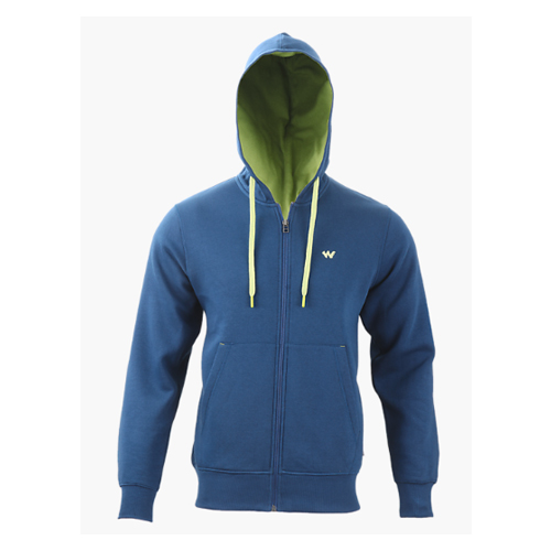 Blue Men Zippered Hoodie