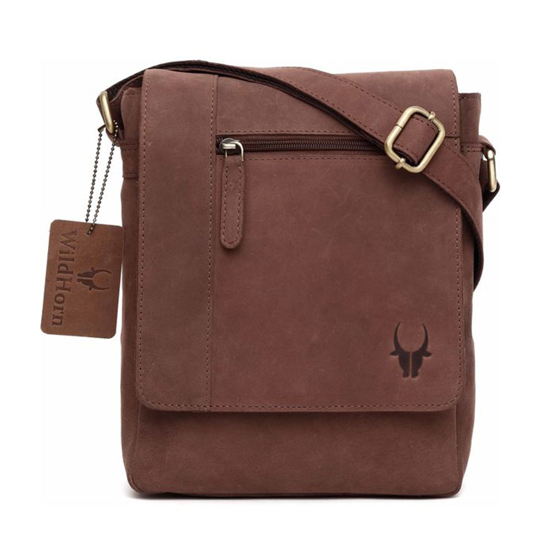 WildHorn Leather Brown Messenger Bag - 2