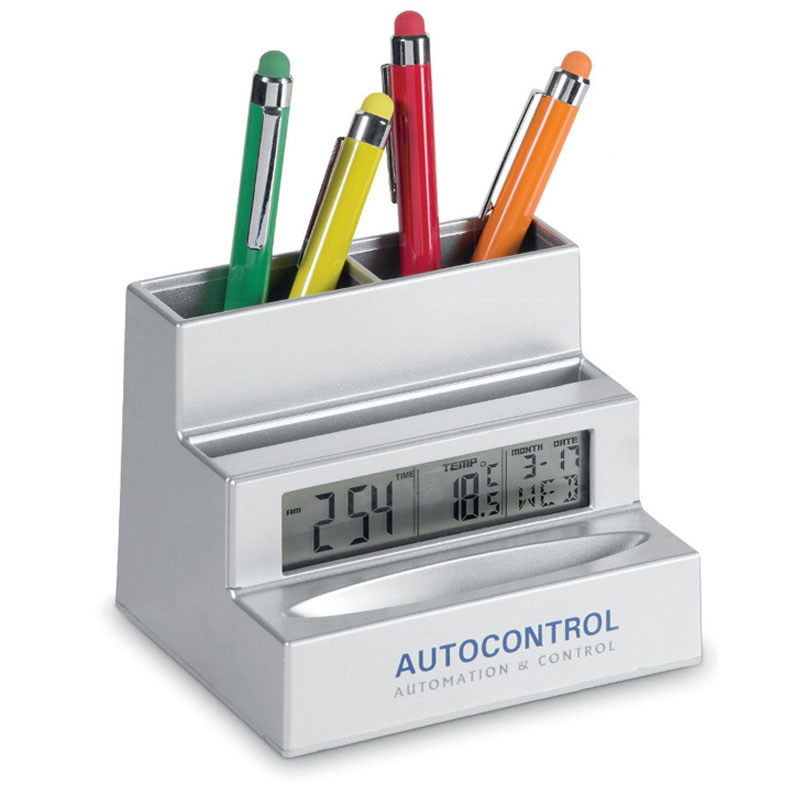Card and Pen Holder with Clock