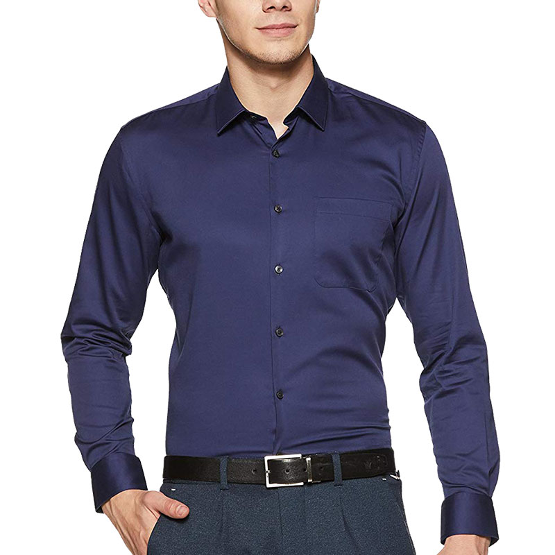 Chambray Cotton Navy Blue Shirt