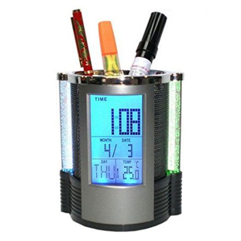 Digital Pen Holder with Table Clock