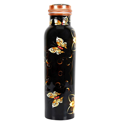 Elegant Floral Design Printed Copper Bottle