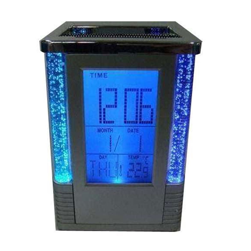 Elegant Square Shape Pen Holder With Digital Clock