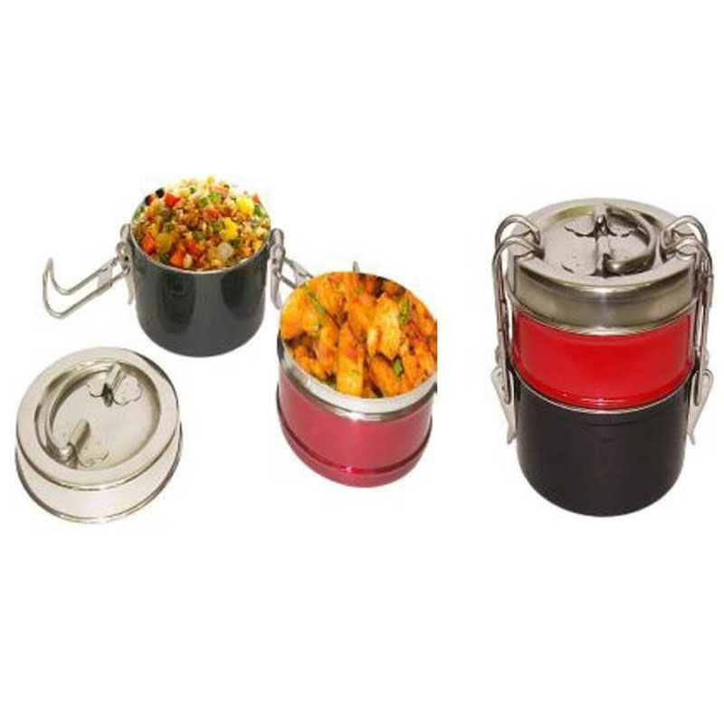 Enamel Colour Steel Tiffin (2 Tier)