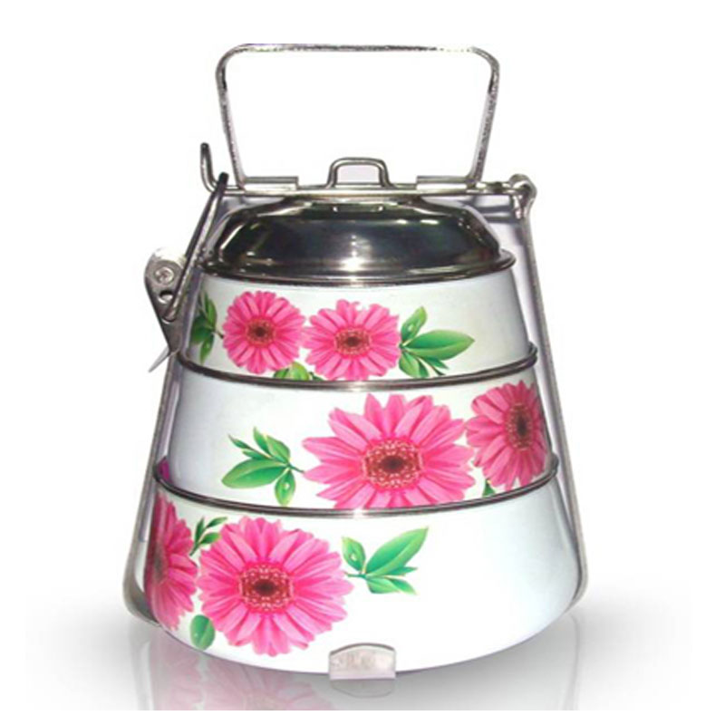 Enamel Steel wire Colorful Tiffin Box (3 Tier)