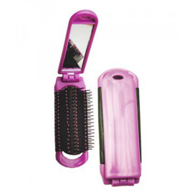 Folding Hair Brush with Mirror