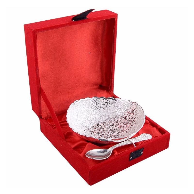 German Silver Bowl and Spoon Gift Set