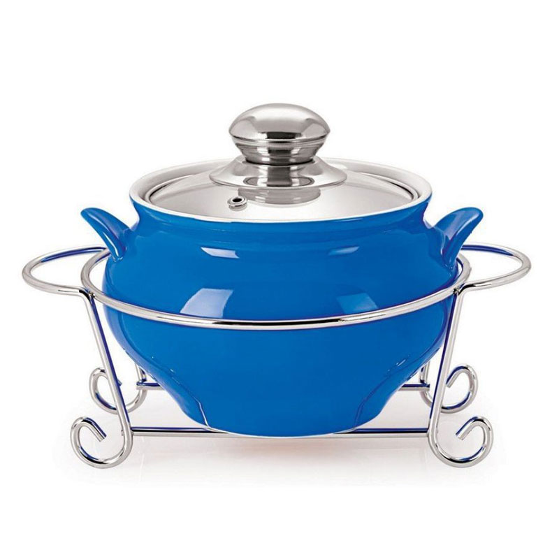 Gusto Ceramic Handi Casserole with Metal Stand