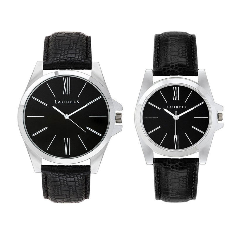 Laurels Opus Analogue Black Dial Couple's Watch