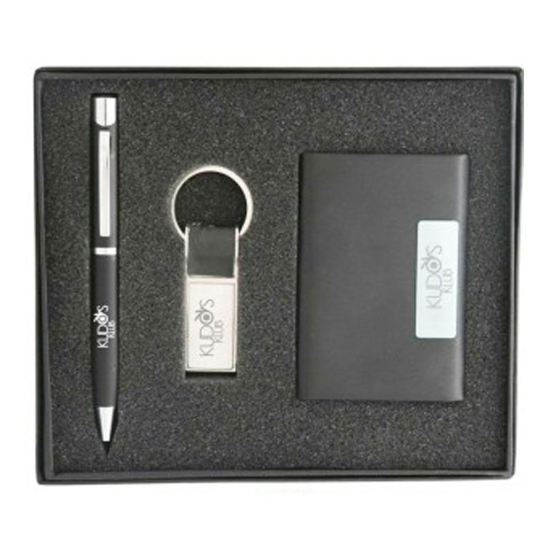 Metal pen with keychain and card holder Set