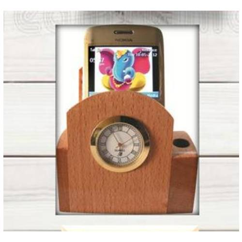 Wooden mobile holder with watch