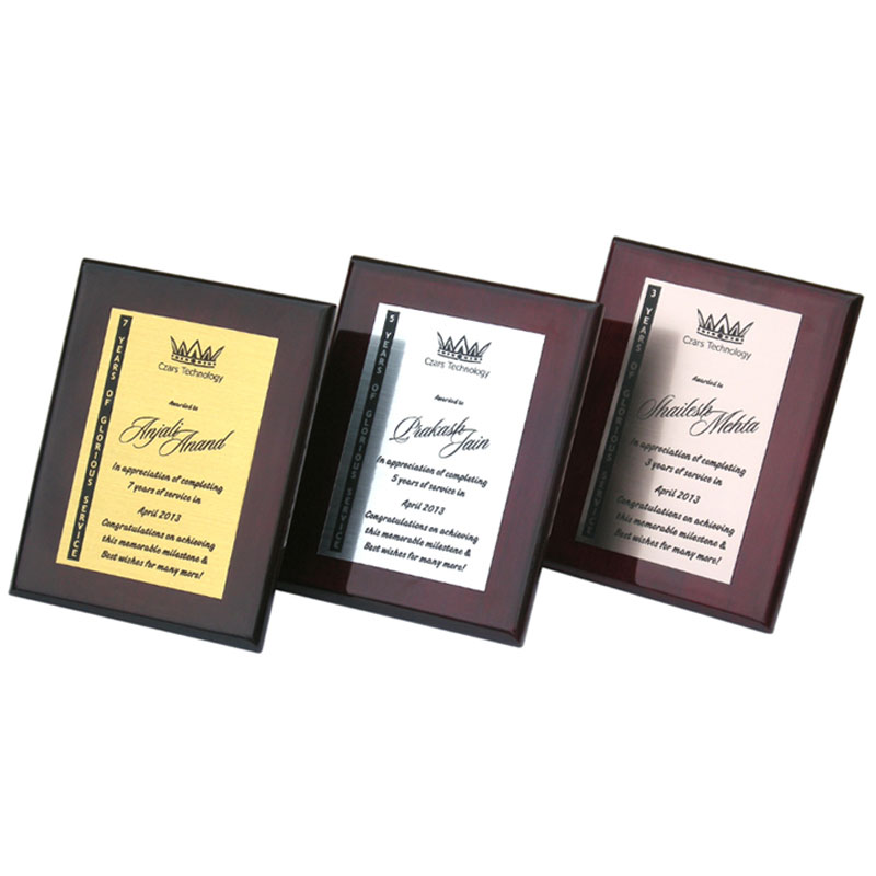 Personalized award plaque cherry finish