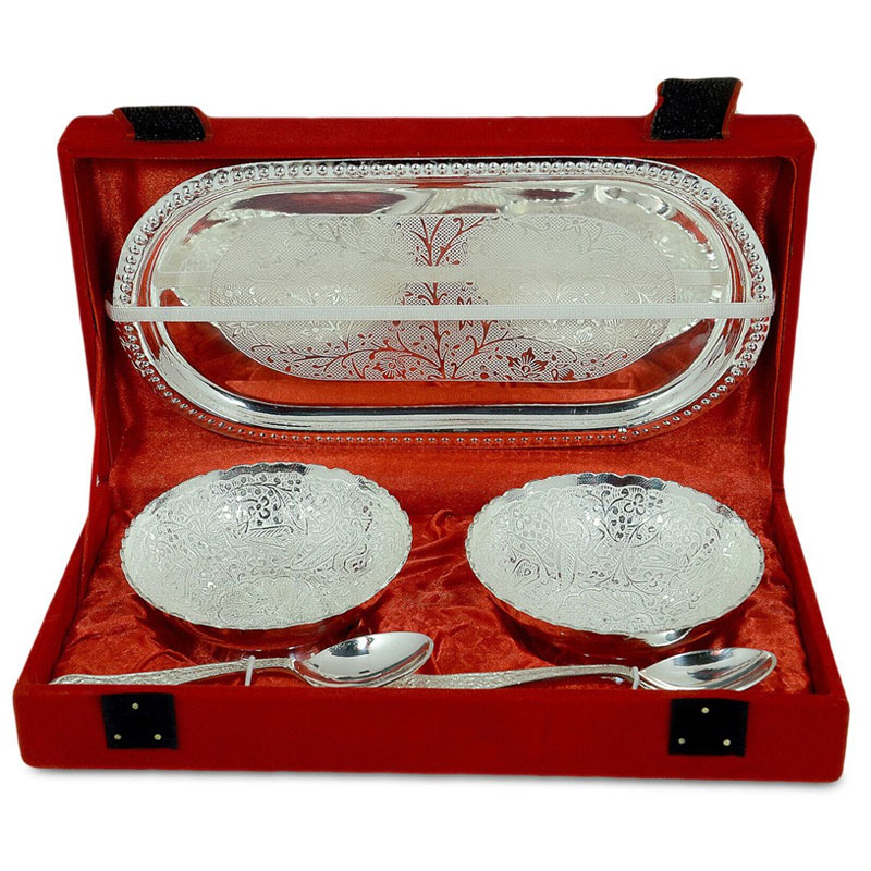 Richi Silver And Gold Plated Brass Bowl And Tray Set Of 5
