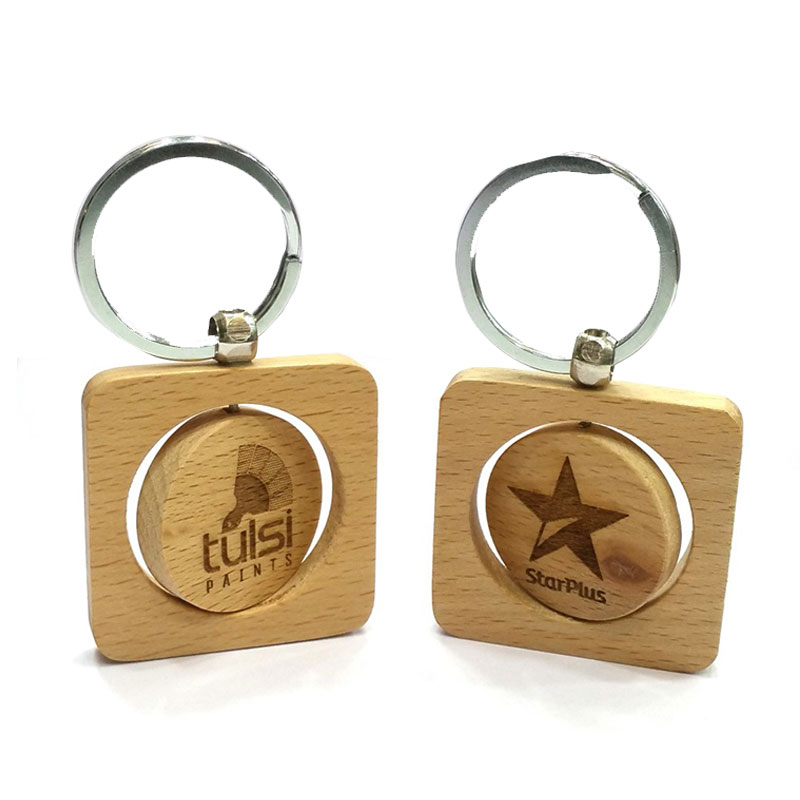 Square Shape with Spinning Circle Keychain