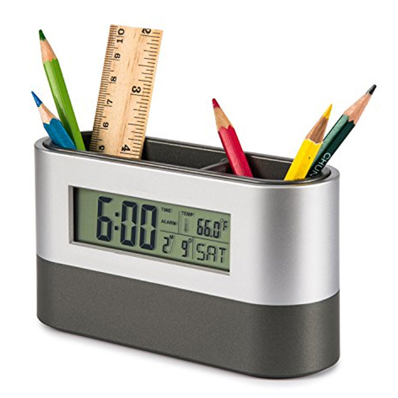 Stationery Holder & Desk Top Clock