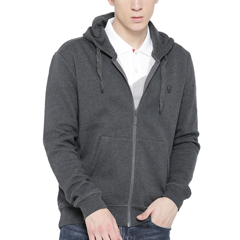 UCB Men Grey Solid Hooded Sweatshirt