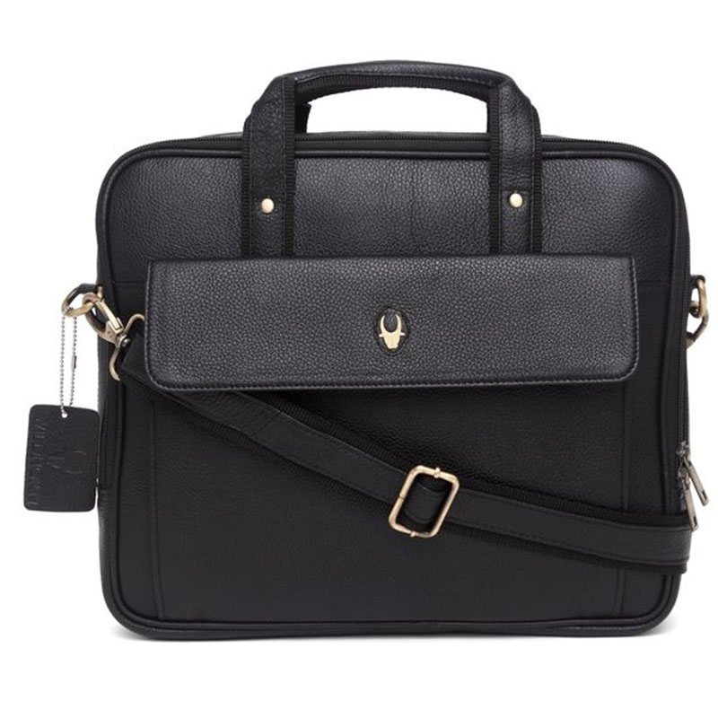 WildHorn Leather Black Messenger Bag