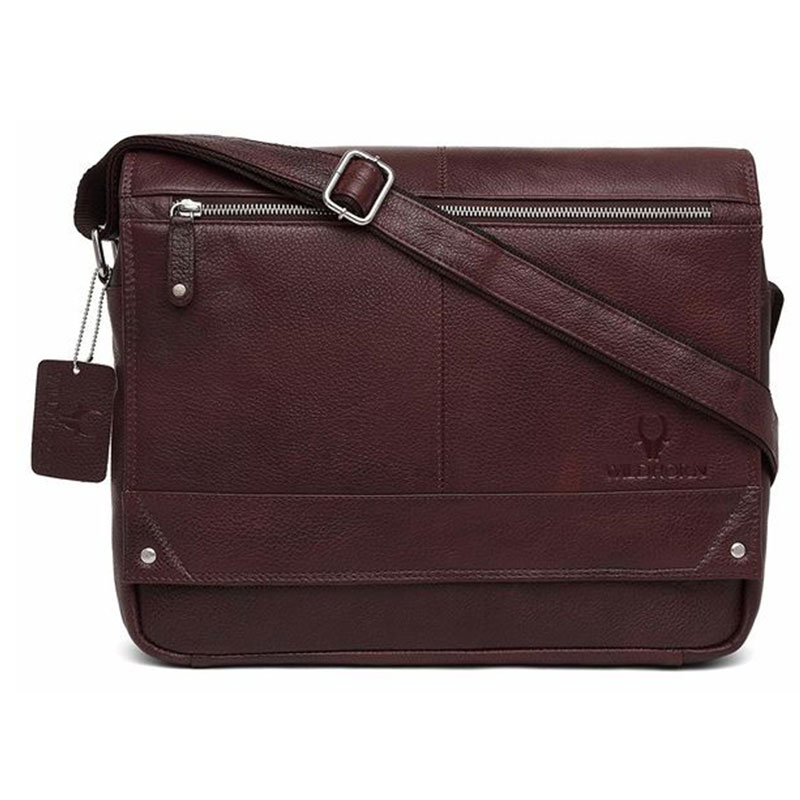 WildHorn Leather Brown Laptop Messenger Bag
