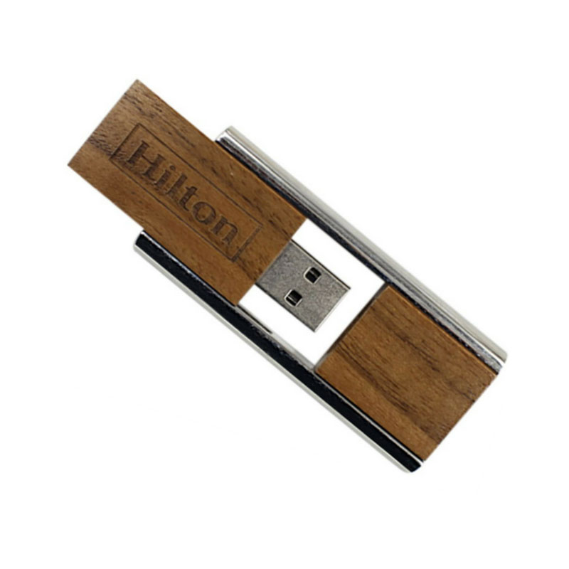 Wooden Pull Out Metal Pendrive