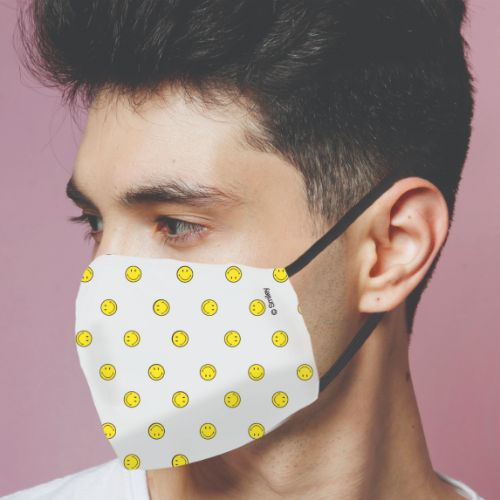 Original Smiley Brand Reusable Anti Viral Face Mask - with 2 Certified Filters - White AOP