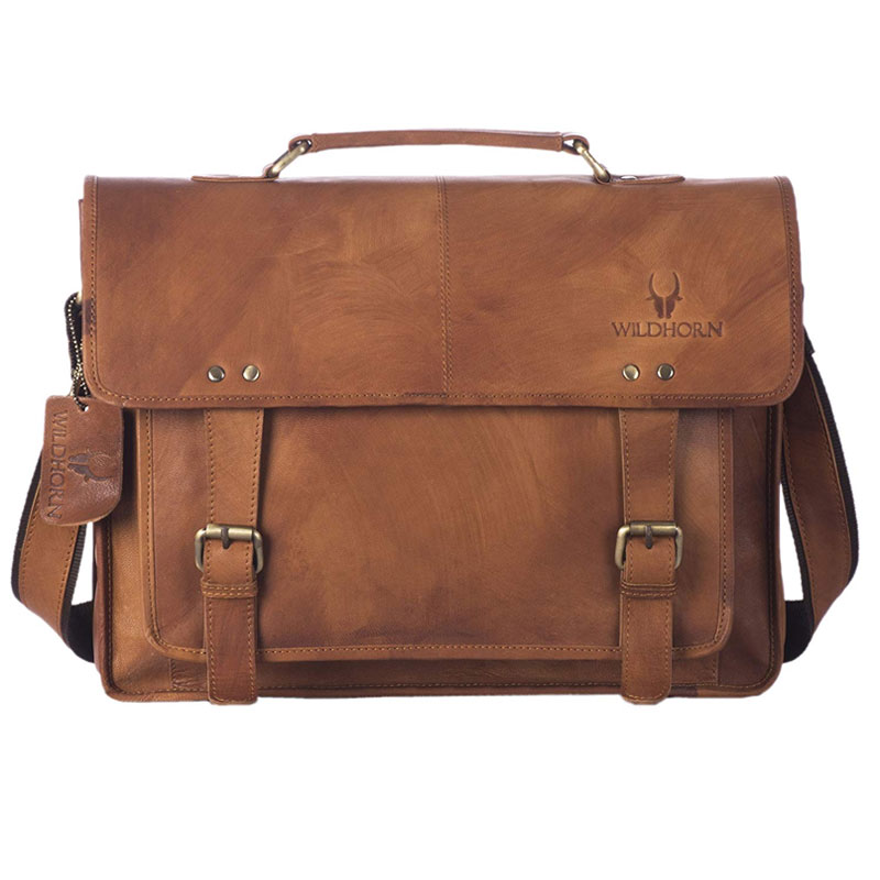 WildHorn Leather Brown Laptop Messenger Bag (1)