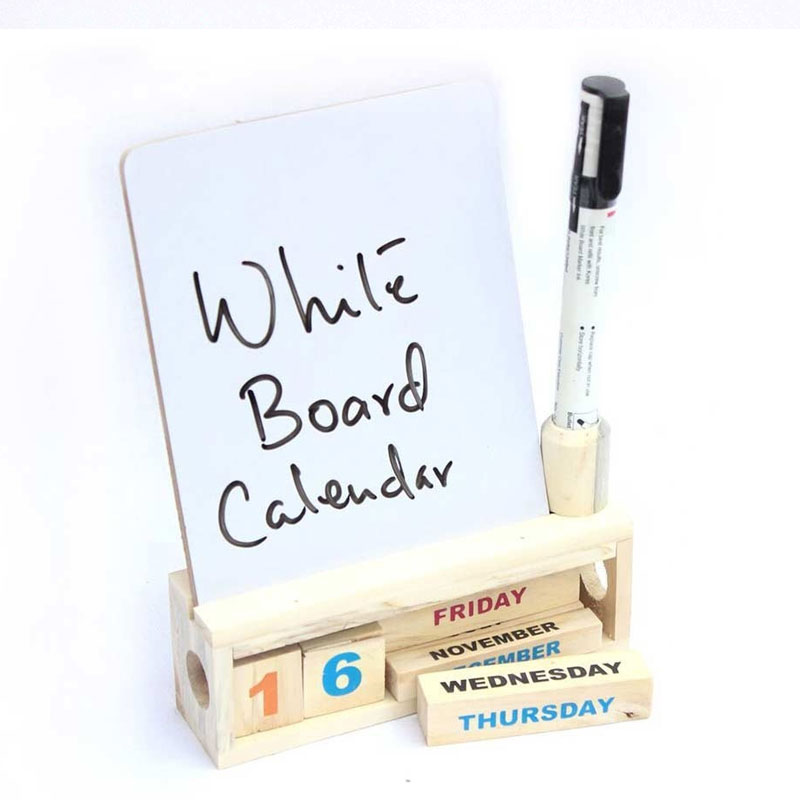 Wooden Desk Calendar with A White Board