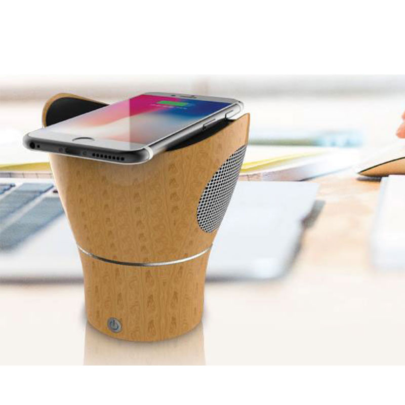 Wooden Wireless charger with speaker